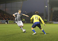 Gary Teale takes on Borja Perez in the St Mirren v Kilmarnock Clydesdale Bank Scottish Premier League match played at St Mirren Park, Paisley on 2.1.13.