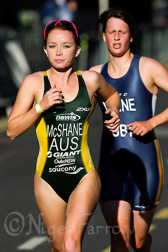 30 JUN 2011 - LONDON, GBR - Charlotte Mc Shane - Women's Super Sprint elimination round - GE Canary Wharf Triathlon .(PHOTO (C) NIGEL FARROW)