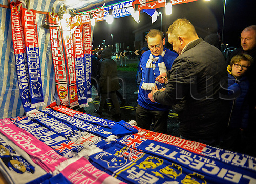28.11.2015. King Power Stadium, London, England. Barclays Premier League. Leicester City versus Manchester United. Match day scarves sold before kick off.