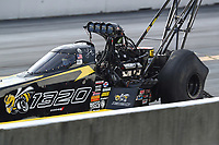Sep 15, 2018; Mohnton, PA, USA; NHRA top fuel driver Leah Pritchett during qualifying for the Dodge Nationals at Maple Grove Raceway. Mandatory Credit: Mark J. Rebilas-USA TODAY Sports