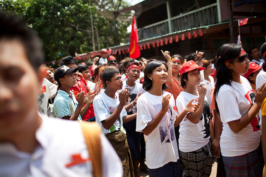 National League for Democracy (NLD) supporters participate in a rally ahead of the country's by elections, in Mingalar Taung Nyunt township, in Yangon, Myanmar, March 25, 2012. NLD candidate Phyu Phyu Thin is running for election in the Mingalar Taung Nyunt township.
