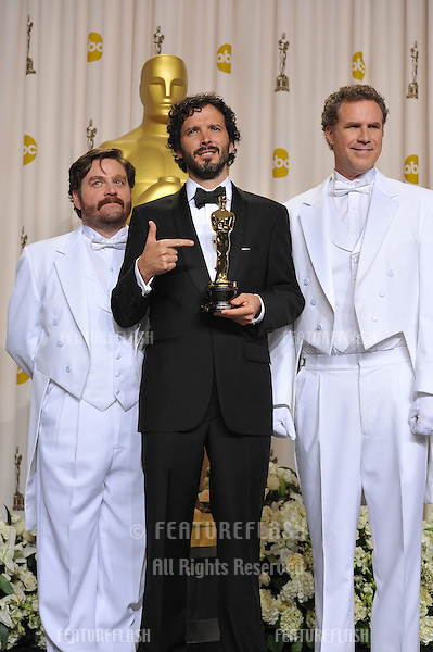Bret McKenzie, winner for Best Original Song for Man or Muppet from The Muppets, with presenters Zach Galifianakis & Will Ferrell at the 82nd Academy Awards at the Hollywood & Highland Theatre, Hollywood..February 26, 2012  Los Angeles, CA.Picture: Paul Smith / Featureflash.