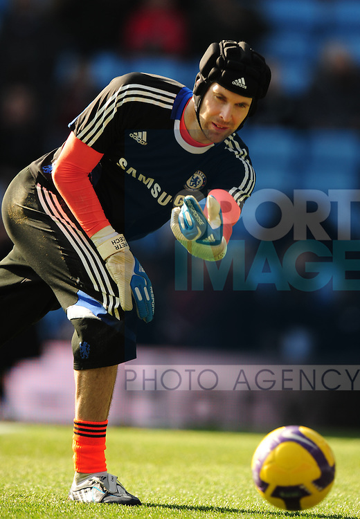 Chelsea's Petr Cech warms up before the match