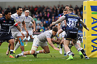 Matt Banahan of Bath Rugby dives for the try-line. Aviva Premiership match, between Sale Sharks and Bath Rugby on May 6, 2017 at the AJ Bell Stadium in Manchester, England. Photo by: Patrick Khachfe / Onside Images