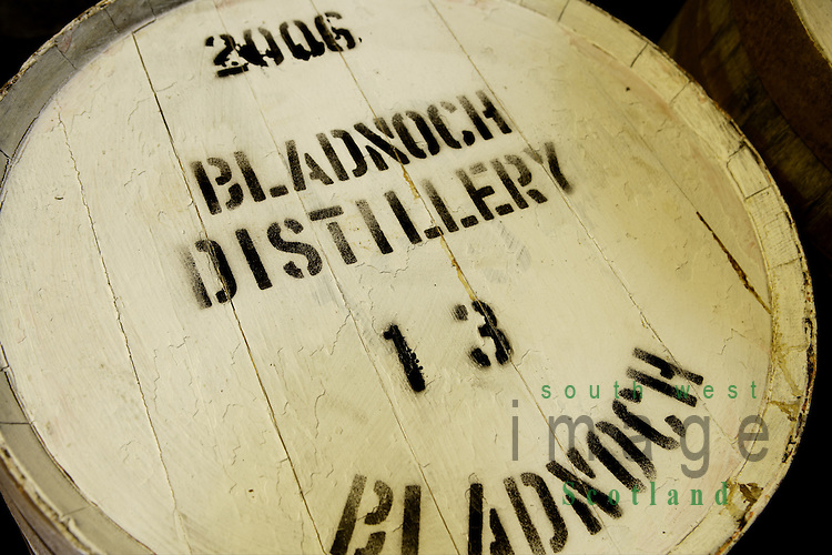 Barrels of 2006 whisky in the bonded warehouse at Bladnoch Distillery near Wigtown in the Machars of Galloway Scotland UK