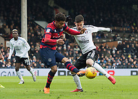 QPR Darnell Furlong and Fulham's Rui Fonte during the Sky Bet Championship match between Fulham and Queens Park Rangers at Craven Cottage, London, England on 17 March 2018. Photo by Andrew Aleksiejczuk / PRiME Media Images.
