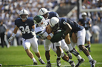 24 September 2011:  Penn State LB Gerald Hodges (6) tackles Eastern Michigan QB Alex Gillett (8). The Penn State Nittany Lions defeated the Eastern Michigan Eagles 34-6 at Beaver Stadium in State College, PA..