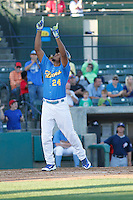 Myrtle Beach Pelicans third baseman Jeimer Candelario (24) looking to the heavens after hitting a home run during a game against the Potomac Nationals at Ticketreturn.com Field at Pelicans Ballpark on May 23, 2015 in Myrtle Beach, South Carolina.  Myrtle Beach defeated Potomac 7-3. (Robert Gurganus/Four Seam Images)