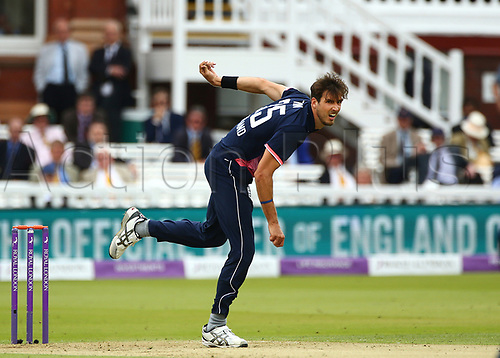 May 29th 2017, Lords, London, England, One Day International Cricket, England versus South Africa; Steven Finn of England in bowling action