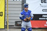 Burlington Royals catcher Jesus Atencio (31) warms up prior to a game with the Bristol Pirates at Boyce Cox Field on June 19, 2019 in Bristol, Virginia. The Royals defeated the Pirates 1-0. (Tracy Proffitt/Four Seam Images)
