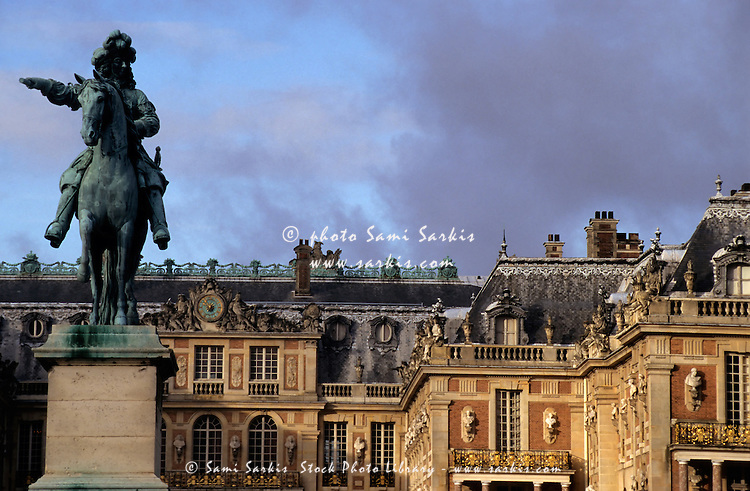 Versailles Palace's courtyard with King Louis 14th statue, Versailles, France