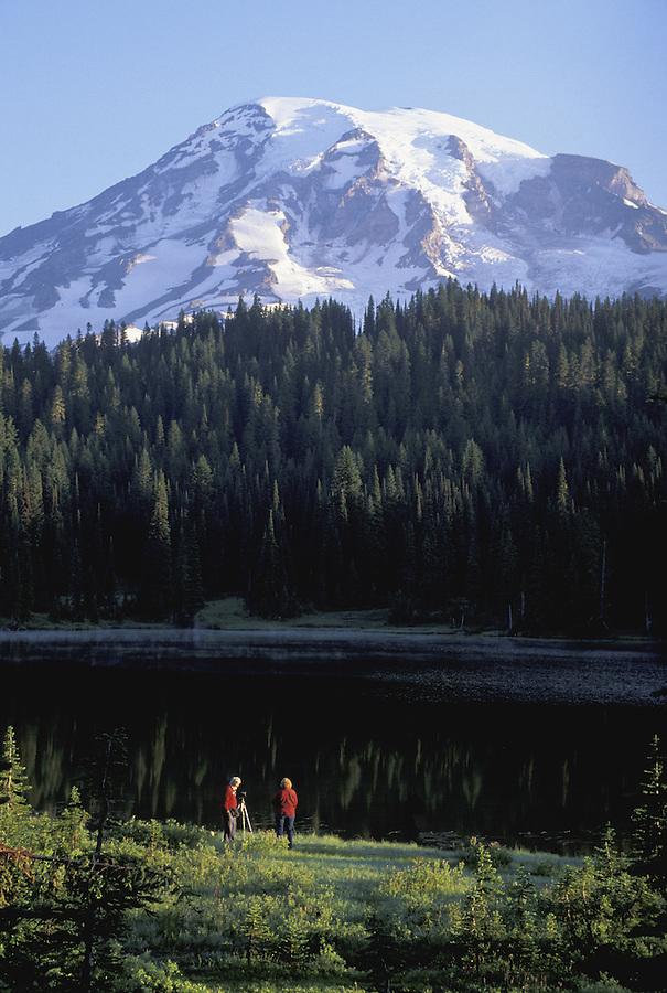 Women photographing Mount Rainier, Mount Rainier National Park, Washington