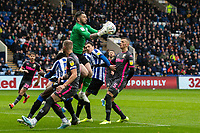 Sheffield Wednesday's goalkeeper Keiren Westwood collects under pressure from Leeds United's Ben White (right)  <br /> <br /> Photographer Andrew Kearns/CameraSport<br /> <br /> The EFL Sky Bet Championship - Sheffield Wednesday v Leeds United - Saturday 26th October 2019 - Hillsborough - Sheffield<br /> <br /> World Copyright © 2019 CameraSport. All rights reserved. 43 Linden Ave. Countesthorpe. Leicester. England. LE8 5PG - Tel: +44 (0) 116 277 4147 - admin@camerasport.com - www.camerasport.com