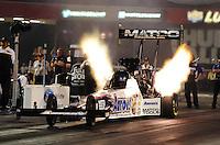 Jun. 15, 2012; Bristol, TN, USA: NHRA top fuel dragster driver Antron Brown during qualifying for the Thunder Valley Nationals at Bristol Dragway. Mandatory Credit: Mark J. Rebilas-