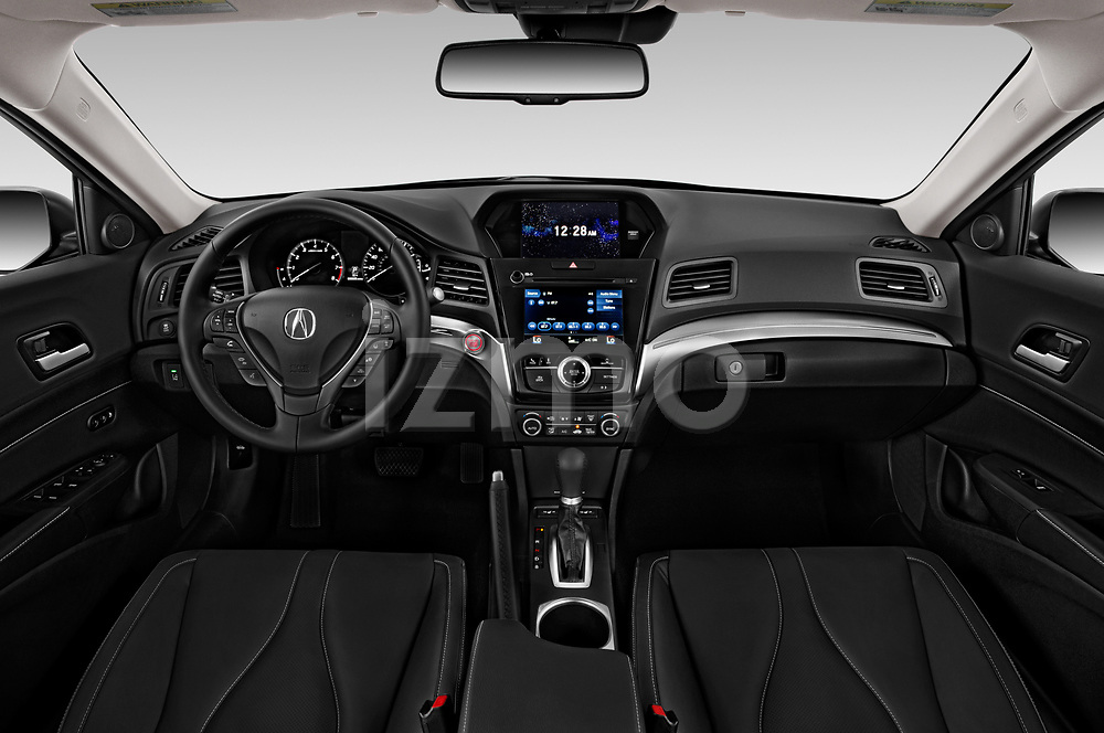 Stock photo of straight dashboard view of a 2019 Acura ILX Premium 4 Door Sedan