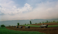 MACEDONIA. Lopate. 05 May 2001..Macedonian Army and Special police units move into positions overlooking the rebel held village of Slupcane during the third day of their offensive against the ethnic Albanian National Liberation Army..©Andrew Testa