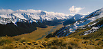 Snow capped mountains of Tussock Valley in Ahuriri Valley.  Canterbury Region. New Zealand.