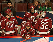 Rob Rassey (Harvard - Assistant Coach), Michael Floodstrand (Harvard - 44), Jake Horton (Harvard - 19), Ty Pelton-Byce (Harvard - 11), Cameron Gornet (Harvard - 32) - The University of Minnesota Duluth Bulldogs defeated the Harvard University Crimson 2-1 in their Frozen Four semi-final on April 6, 2017, at the United Center in Chicago, Illinois.