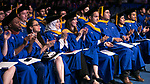 Students applaud the speakers Sunday, June 11, 2017, during the DePaul University College of Computing and Digital Media and the College of Communication commencement ceremony at the Allstate Arena in Rosemont, IL. (DePaul University/Jamie Moncrief)