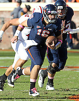 Oct. 22, 2011 - Charlottesville, Virginia - USA; Virginia Cavaliers quarterback Michael Rocco (16) runs the ball during an NCAA football game against the North Carolina State Wolfpack at the Scott Stadium. NC State defeated Virginia 28-14. (Credit Image: © Andrew Shurtleff