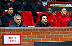 Wayne Rooney of Manchester United sits on the bench behind Manchester United manager Jose Mourinho during the UEFA Europa League Quarter Final 2nd Leg match at Old Trafford, Manchester. Picture date: April 20th, 2017. Pic credit should read: Matt McNulty/Sportimage