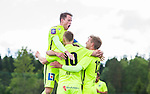 S&ouml;dert&auml;lje 2015-06-21 Fotboll Superettan Assyriska FF - J&ouml;nk&ouml;pings S&ouml;dra IF :  <br /> J&ouml;nk&ouml;ping S&ouml;dras Tim S&ouml;derstr&ouml;m firar sitt 0-1 m&aring;l med Tommy Thelin och Jesper Svensson under matchen mellan Assyriska FF och J&ouml;nk&ouml;pings S&ouml;dra IF <br /> (Foto: Kenta J&ouml;nsson) Nyckelord:  Assyriska AFF S&ouml;dert&auml;lje Fotbollsarena Superettan J&ouml;nk&ouml;ping S&ouml;dra J-S&ouml;dra jubel gl&auml;dje lycka glad happy