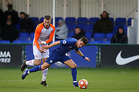 George McEachran of Chelsea falls to the ground in the Montpellier penalty area. No foul given during Chelsea Under-19 vs Montpellier HSC Under-19, UEFA Youth League Football at the Cobham Training Ground on 13th March 2019