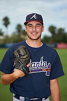 GCL Braves pitcher Andy Samuelson (23) poses for a photo before a Gulf Coast League game against the GCL Orioles on August 5, 2019 at Ed Smith Stadium in Sarasota, Florida.  GCL Orioles defeated the GCL Braves 4-3 in the second game of a doubleheader.  (Mike Janes/Four Seam Images)