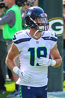 Seattle Seahawks wide receiver Tanner McEvoy (19) during a National Football League game against the Green Bay Packers on September 10, 2017 at Lambeau Field in Green Bay, Wisconsin. Green Bay defeated Seattle 17-9. (Brad Krause/Krause Sports Photography)