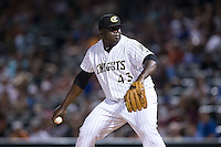Charlotte Knights relief pitcher Maikel Cleto (43) in action against the Indianapolis Indians at BB&T BallPark on June 20, 2015 in Charlotte, North Carolina.  The Knights defeated the Indians 6-5 in 12 innings.  (Brian Westerholt/Four Seam Images)