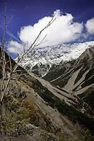 Ravine, snow capped mountains. Hahntennjoch pass, Imst district, Tyrol, Tirol, Austria