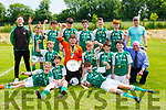 The Castleisland team celebrate after defeating Killarney Celtic to win the Tom Hayes Shield u14 final in Ballyhar on Saturday