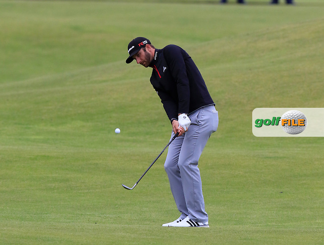 Dustin JOHNSON (USA) plays his 2nd shot on the 18th hole during Sunday's Round 3 of the 144th Open Championship, St Andrews Old Course, St Andrews, Fife, Scotland. 19/07/2015.<br /> Picture Eoin Clarke, www.golffile.ie