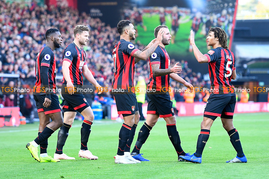 Joshua King of AFC Bournemouth middle celebrates his goal with Nathan Ake of AFC Bournemouth right during AFC Bournemouth vs Arsenal, Premier League Football at the Vitality Stadium on 25th November 2018
