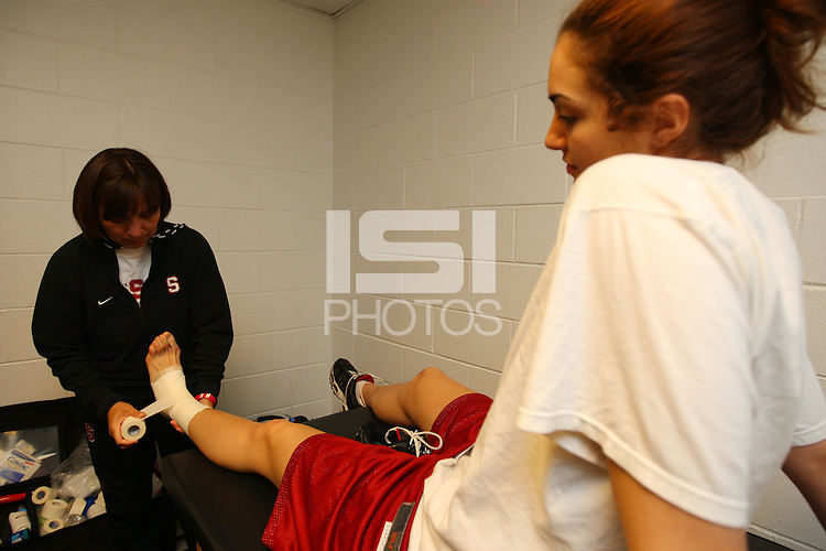 7 April 2008: Stanford Cardinal athletic trainer Marcella Shorty (left) and Morgan Clyburn (right) during Stanford's press conference for the 2008 NCAA Division I Women's Basketball Final Four championship game at the St. Pete Times Forum Arena in Tampa Bay, FL.