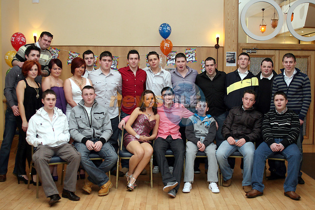 Karl Dyas with friends at his 21st in The Thatch...Photo NEWSFILE/Jenny Matthews.(Photo credit should read Jenny Matthews/NEWSFILE)....This Picture has been sent you under the condtions enclosed by:.Newsfile Ltd..The Studio,.Millmount Abbey,.Drogheda,.Co Meath..Ireland..Tel: +353(0)41-9871240.Fax: +353(0)41-9871260.GSM: +353(0)86-2500958.email: pictures@newsfile.ie.www.newsfile.ie.FTP: 193.120.102.198.