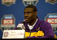 LSU cornerback Morris Claiborne talks with the reporters during the LSU Defensive Press Conference at Marriott Hotel at the Convention Center on January 5th, 2011.