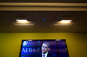 United States President Barack Obama is seen on a TV monitor as he participates in a CBS News Town Hall Meeting on the Economy at the Newseum in Washington, DC, USA, on 11 May, 2011..Credit: Jim LoScalzo / Pool via CNP