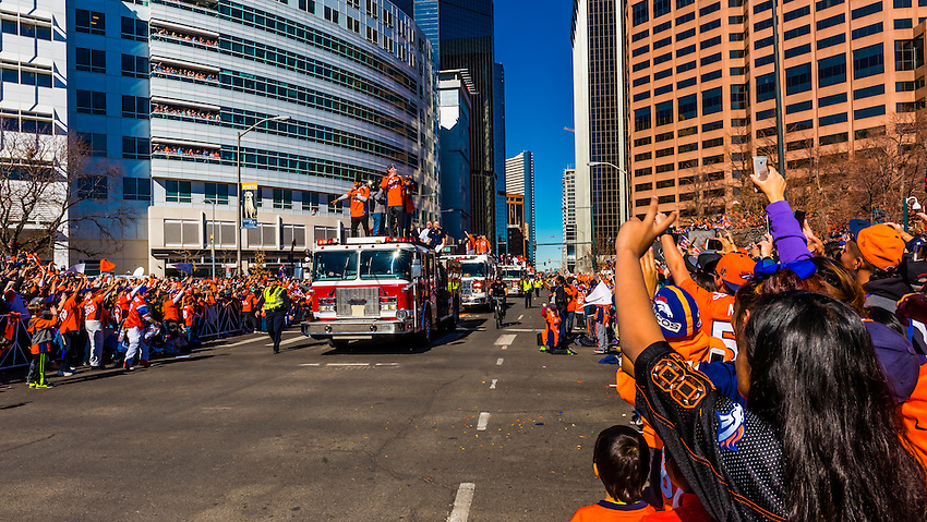 Denver Broncos Super Bowl Victory Parade, Downtown Denver, Colorado USA.
