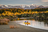 Couple kayaking in Okarito Lagoon at sunset, Westland National Park, West Coast, World Heritage Area, South Westland, New Zealand