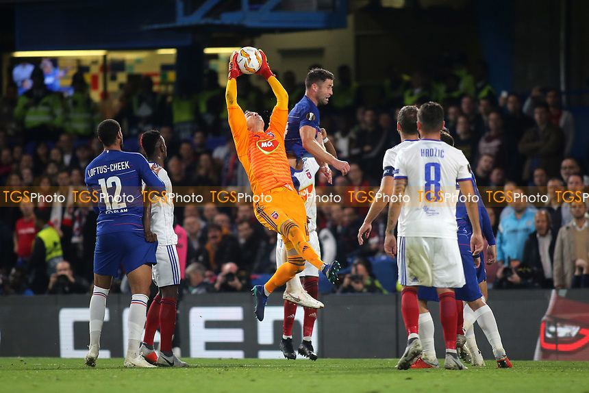Mol Vidi goalkeeper, Tomas Tujvel makes a fine save during Chelsea vs MOL Vidi, UEFA Europa League Football at Stamford Bridge on 4th October 2018