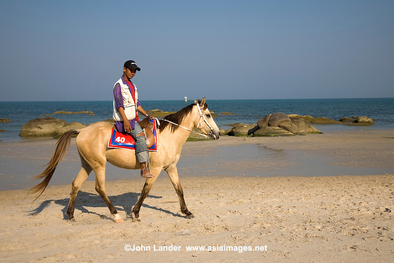 Hua Hin Beach Horse - The seaside in Hua Hin has always been a popular retreat for residents of Bangkok to get a breath of fresh ocean air.  It is also popular for loading up on fresh seafood, pony rides on the beach or simply beachcoming by the wharf.