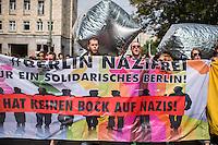 """Antifaschistische Demonstration gegen Aufmarsch von Neonazis und Hooligans.<br /> Etwa 1.000 Menschen zogen am Samstag den 30. Juli 2016 mit einer Demonstration durch Berlin um gegen einen Aufmarsch von Neonazis und Hooligans zu demonstrieren, der vom einschlaegig bekannten Neonazi-Hooligan Enrico Stubbe angemeldet war.<br /> Die Polizei hatte die Aufmarschroute der Rechten weitraeumig abgesperrt.<br /> Die antifaschistische Demonstration begann bei gemeinsam mit der Techno-Parade """"Zug der Liebe"""". Einige der Techno-Anhaenger entschieden sich spontan, an der Demonstration teilzunehmen.<br /> 30.7.2016, Berlin<br /> Copyright: Christian-Ditsch.de<br /> [Inhaltsveraendernde Manipulation des Fotos nur nach ausdruecklicher Genehmigung des Fotografen. Vereinbarungen ueber Abtretung von Persoenlichkeitsrechten/Model Release der abgebildeten Person/Personen liegen nicht vor. NO MODEL RELEASE! Nur fuer Redaktionelle Zwecke. Don't publish without copyright Christian-Ditsch.de, Veroeffentlichung nur mit Fotografennennung, sowie gegen Honorar, MwSt. und Beleg. Konto: I N G - D i B a, IBAN DE58500105175400192269, BIC INGDDEFFXXX, Kontakt: post@christian-ditsch.de<br /> Bei der Bearbeitung der Dateiinformationen darf die Urheberkennzeichnung in den EXIF- und  IPTC-Daten nicht entfernt werden, diese sind in digitalen Medien nach §95c UrhG rechtlich geschuetzt. Der Urhebervermerk wird gemaess §13 UrhG verlangt.]"""