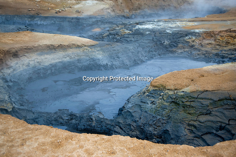 Steamy Boiling Mud Pots in Hverarond Geothermal Field in North Iceland