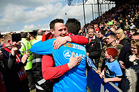 Lincoln City's Lee Beevers hugs Lincoln City manager Danny Cowley at the end of the game<br /> <br /> Photographer Chris Vaughan/CameraSport<br /> <br /> Vanarama National League - Lincoln City v Macclesfield Town - Saturday 22nd April 2017 - Sincil Bank - Lincoln<br /> <br /> World Copyright &copy; 2017 CameraSport. All rights reserved. 43 Linden Ave. Countesthorpe. Leicester. England. LE8 5PG - Tel: +44 (0) 116 277 4147 - admin@camerasport.com - www.camerasport.com