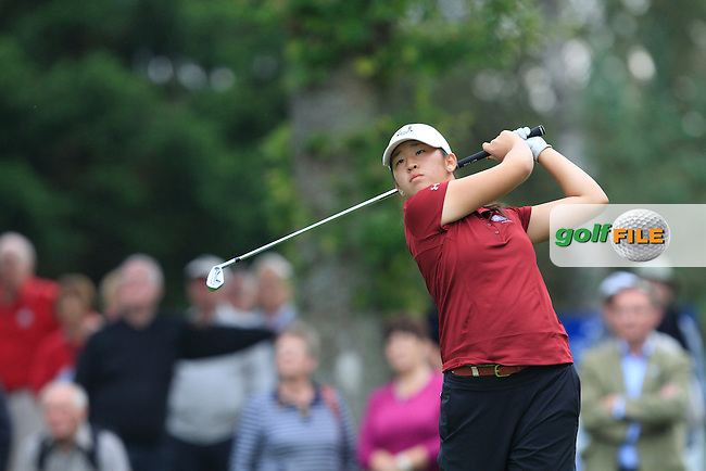 Andrea Lee (USA) in the Mixed Fourballs during the 2014 JUNIOR RYDER CUP at the Blairgowrie Golf Club, Perthshire, Scotland. <br /> Picture:  Thos Caffrey / www.golffile.ie