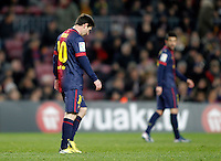 FC Barcelona's Leo Messi dejected during Copa del Rey - King's Cup semifinal second match.February 26,2013. (ALTERPHOTOS/Acero) /Nortephoto