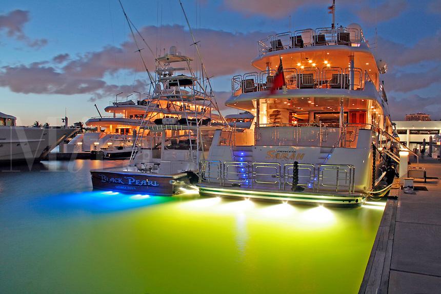 Yachts docked evening lighting, Bahia Mar marina, Fort Lauderdale Florida