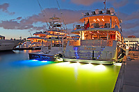 Yachts docked evening lighting, Bahia Mar marina, Fort Lauderdale Florida