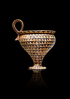 Minoan clay cup decorted design, Speial Palatial Style , Knossos Palace 1500-1450 BC BC, Heraklion Archaeological  Museum, black background.
